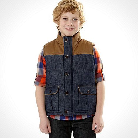 Baker by Ted Baker - Boy+s blue padded denim gilet