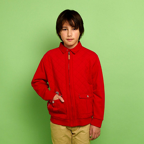 Baker by Ted Baker - Boy+s red zip through quilted jacket