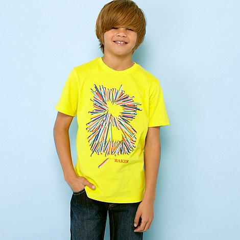 Baker by Ted Baker - Boy+s yellow pencil graphic logo t-shirt