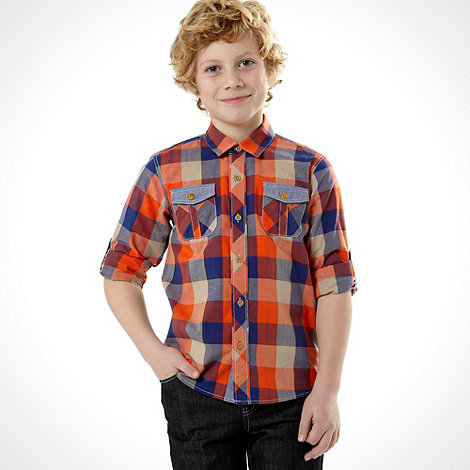 Baker by Ted Baker - Boy+s orange gingham checked shirt