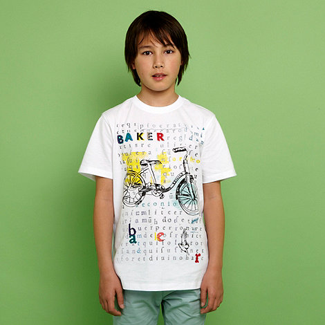 Baker by Ted Baker - Boy+s white bicycle print t-shirt