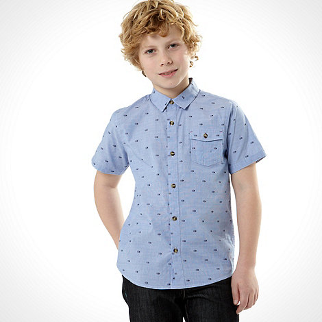 Baker by Ted Baker - Boy+s blue short sleeved jacquard shirt