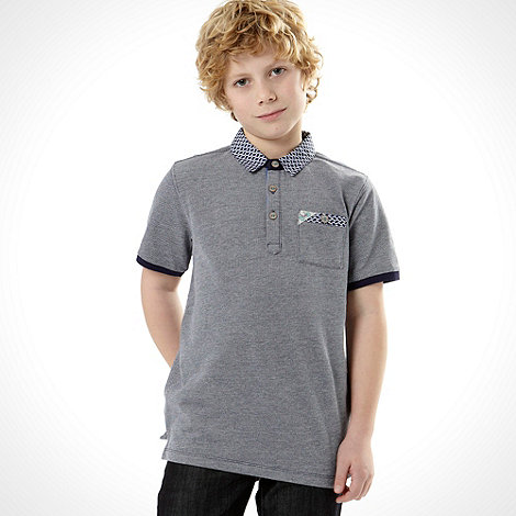 Baker by Ted Baker - Boy+s navy geometric collar pique polo shirt