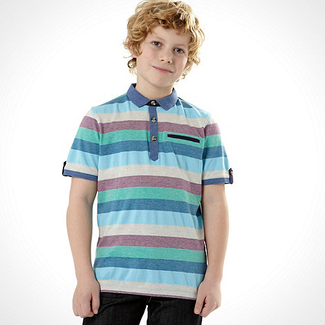 Baker by Ted Baker - Boy+s multi block stripe polo top