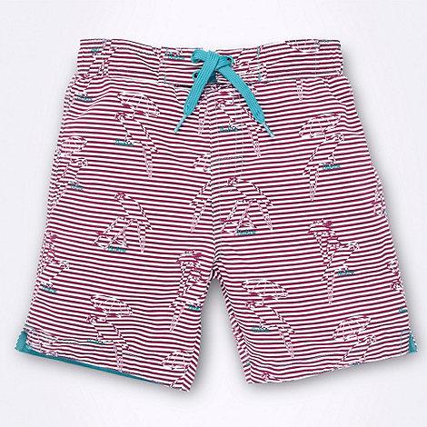 Baker by Ted Baker - Boy+s purple striped parrot swim shorts