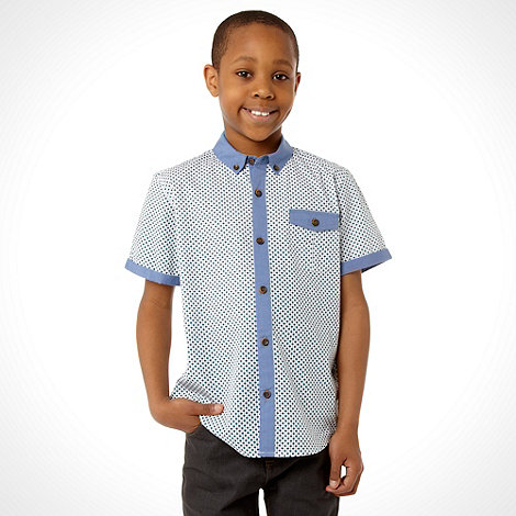 Baker by Ted Baker - Boy+s blue short sleeved geo shirt