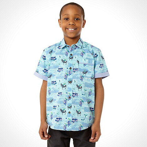 Baker by Ted Baker - Boy+s blue all over seaside shirt