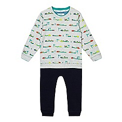 Baker by Ted Baker - Boys' grey train print sweater and jogging bottoms set