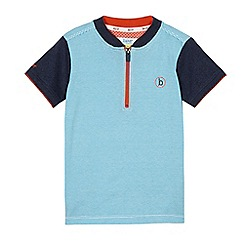 Baker by Ted Baker - Boy's blue stripe zip-up baseball henley