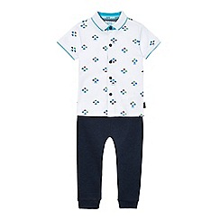 Baker by Ted Baker - Boys' white car print jersey shirt and navy jogging bottoms set