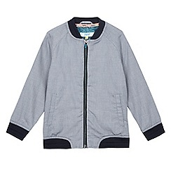Baker by Ted Baker - Boys' navy puppytooth textured bomber jacket