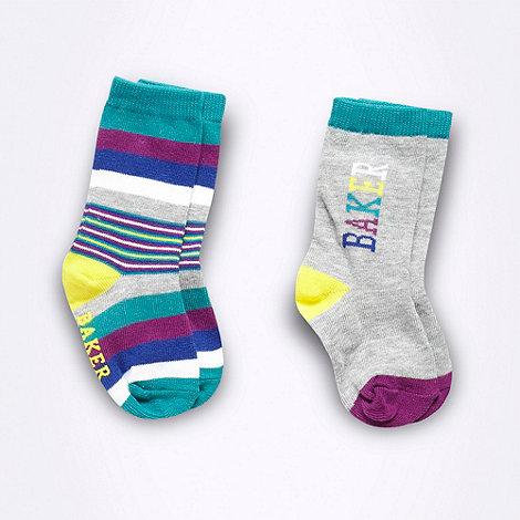 Baker by Ted Baker - Pack of two babies stripe socks