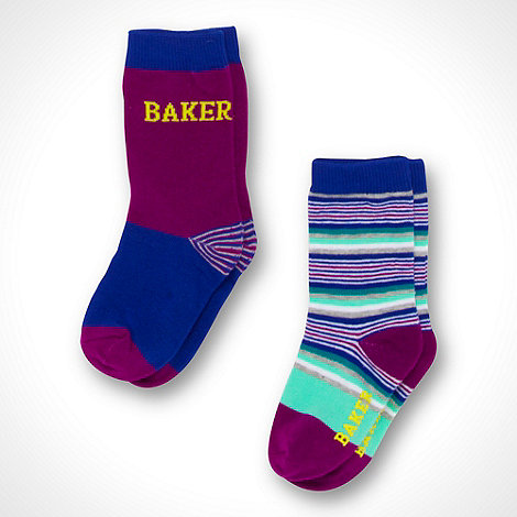 Baker by Ted Baker - Boy+s pack of two purple plain and striped socks
