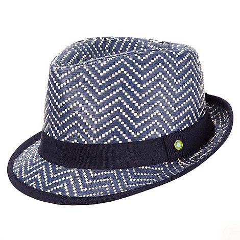Baker by Ted Baker - Boy+s blue patterned straw trilby hat