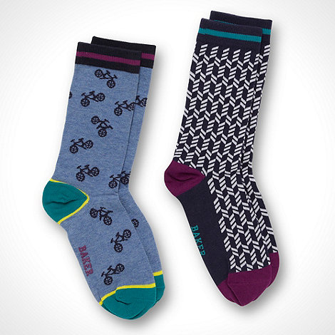 Baker by Ted Baker - Boy+s pack of two blue bicycle patterned and navy broken striped socks
