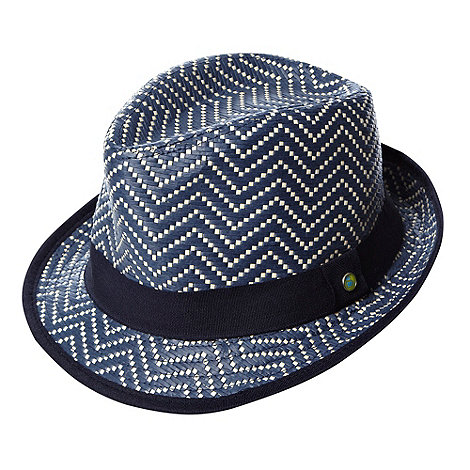 Baker by Ted Baker - Boy+s navy straw trilby hat