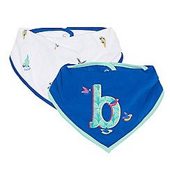 Baker by Ted Baker - Pack of two blue and white parrot print bibs