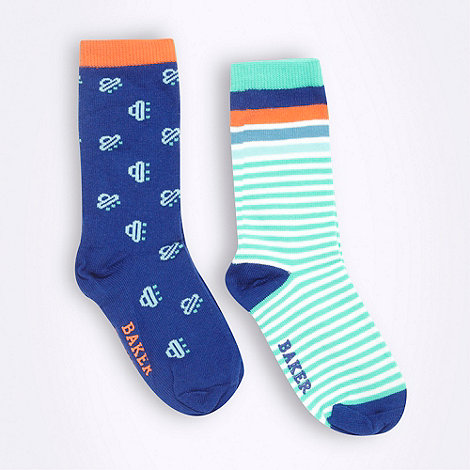 Baker by Ted Baker - baby+s pack of two blue patterned socks