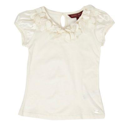 Light cream rose emblem girls t-shirt