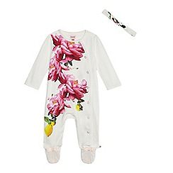 Baker by Ted Baker - Baby girls' white floral print sleepsuit with a headband