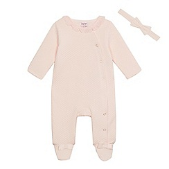 Baker by Ted Baker - Baby girls' light pink quilted sleepsuit and hairband