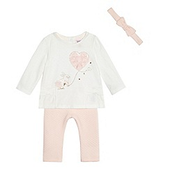 Baker by Ted Baker - Baby girls' white bunny print top and leggings set