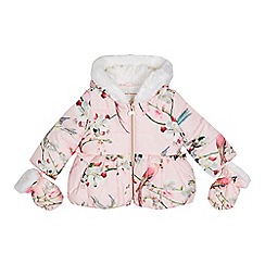 Baker by Ted Baker - Baby girls' pink padded coat and mittens set
