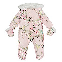 Baker by Ted Baker - Baby girls' floral print snugglesuit and mittens set
