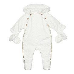Baker by Ted Baker - Baby girls' white geometric textured snowsuit with mittens