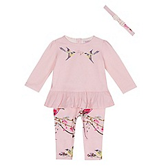 Baker by Ted Baker - Baby girls' light pink bird print top, leggings and headband set