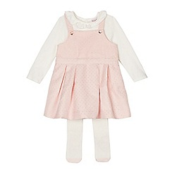 Baker by Ted Baker - Baby girls' pink dungaree dress, top and tights set
