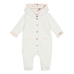 Baker by Ted Baker - Baby girls' light pink quilted snugglesuit