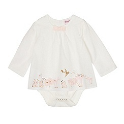 Baker by Ted Baker - Baby girls' off-white deer and bunny print layered bodysuit