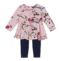 Baker by Ted Baker - Baby girls' light pink floral print tunic and leggings set