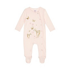 Baker by Ted Baker - Baby girls' light pink deer glitter sleepsuit with a headband