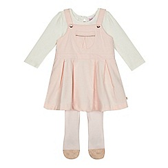 Baker by Ted Baker - Baby girls' light pink pinafore, top and tights set