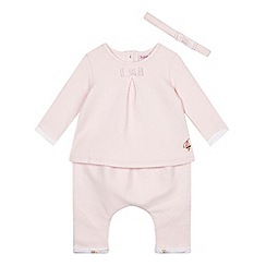 Baker by Ted Baker - Baby girls' light pink quilted top, hareem pants and headband set