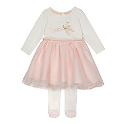 Baker by Ted Baker - Baby girls' light pink dress and tights set