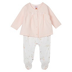 Baker by Ted Baker - Baby girls' light pink quilted romper suit