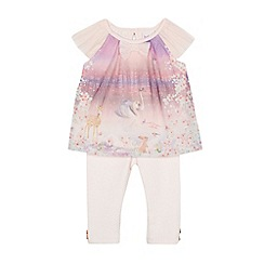 Baker by Ted Baker - Baby girls' light pink woodland print tulle top and leggings set