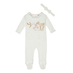 Baker by Ted Baker - Baby girls' off white sequin deer top, leggings and headband set