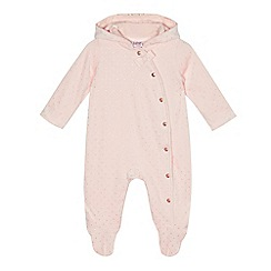 Baker by Ted Baker - Baby girls' light pink spotted velour snugglesuit