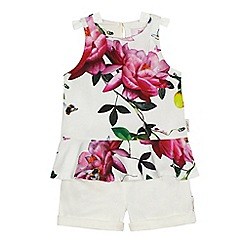Baker by Ted Baker - Girls' white floral print top and shorts set