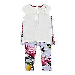 Baker by Ted Baker - Girls' white and lilac floral print top and leggings set