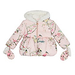 Baker by Ted Baker - Girls' pink padded coat and mittens set