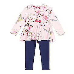 Baker by Ted Baker - Girls' light pink floral tunic and leggings set
