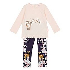 Baker by Ted Baker - Girls' light pink sequinned deer fairy top and floral leggings set