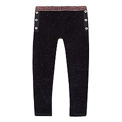 Baker by Ted Baker - Girls' navy velvet glitter leggings