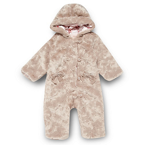Baker by Ted Baker - Babies pale pink faux fur snowsuit
