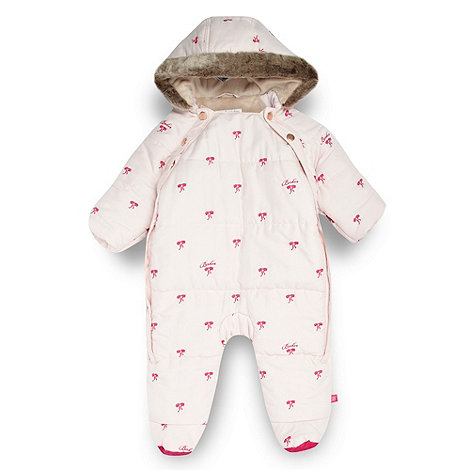 Baker by Ted Baker - Babies pale pink embroidered bows snowsuit